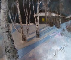 The winter in Aksakovo, Orenburg area, Russia, 50x60cm, oil and acryl on canvas. The picture is in Aksakov museum, Russia