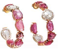 Sharon Khazzam pink sapphire & diamond slice hoop earrings. Via Diamonds in the Library.