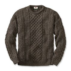 Orvis Black Sheep Irish Fisherman's Sweater | Undyed, naturally brownish-gray color of black sheep wool
