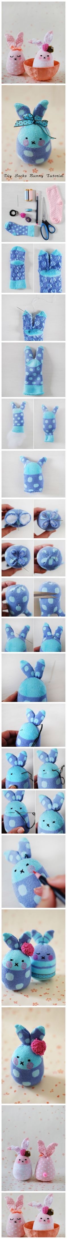 tiny cute kawaii easter bunny rabbit plushie pals to fit in eggs to make for friends happy easter everyone Bricolage Tutorial Lapin Chaussettes Sock Crafts, Cute Crafts, Fabric Crafts, Diy And Crafts, Crafts For Kids, Sock Bunny, Bunny Rabbit, Happy Easter Everyone, Sock Toys