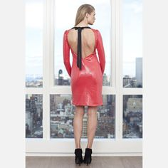 Open Back Cocktail Dress Coral