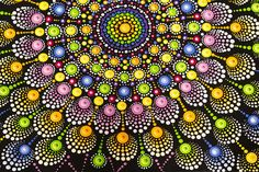 Fireworks Mandala original dot art painting acrylic on canvas