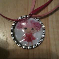 Homemade Lalaloopsy bottlecap necklaces