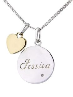 Sterling Silver Diamond Set Personalised Disc Pendant With 9 Carat Yellow Gold Heart, http://www.very.co.uk/sterling-silver-diamond-set-personalised-disc-pendant-with-9-carat-yellow-gold-heart/1332135706.prd