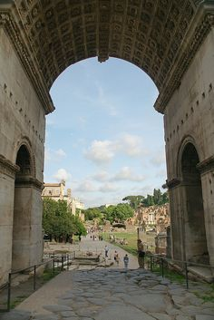 Ruins of the Roman Forum from beneath the Arch of Septimius Severus - Rome, Italy