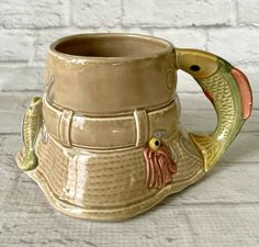 Lucky Fishing Hat Coffee Mug Fish Handle Ganz Lures Bucket Vintage Taiwan Dad #GANZ