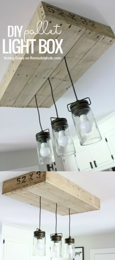 Give your kitchen lighting some rustic style with this simple DIY pallet wood light box. Combined with a mason jar style pendant light fixture, it's the perfect farmhouse lighting! Tutorial from Notin (Best Kitchen Lighting) Rustic Kitchen Lighting, Kitchen Lighting Fixtures, Farmhouse Lighting, Kitchen Rustic, Kitchen Country, Farmhouse Chandelier, Bathroom Lighting, Farmhouse Kitchen Diy, Rustic Pendant Lighting