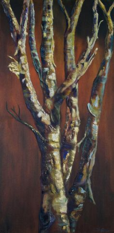 """Painted Textured Birch Tree by Shelley Bauer Oil ~ 48"""" x 24"""""""
