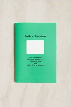 Delfonics - Table of Contents Notebook - Dot Grid - A5 - Green Table Of Contents, It's Going Down, Shopping Lists, Shades Of Green, Grid, Stationery, Dots, Notebook, Cards Against Humanity