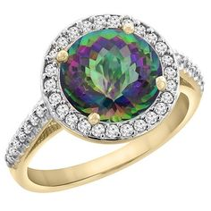10K Yellow Gold Natural Mystic Topaz Ring Round 8mm Diamond Halo, sizes 5 to 10 ** See this great image  : Promise Rings