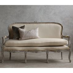 Eloquence One of a Kind Vintage Settee Louis XV Distressed Oyster @LaylaGrayce