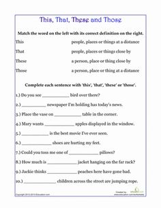 Dedicate some time to learning demonstrative pronouns: this, that, these and those. Your child will brush up on grammar skills with this sheet.