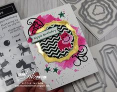 Nicole Wilson Independent Stampin' Up!® Demonstrator - colour INKspiration 82 using Hippo Happiness - #CI82 #colourinkspiration #hippohappiness #nicolewilson #hippobirthday #stampinup #tastefullabels #stitchedstars #girlycard #girlbirthdaycard #hippo #brassfoil #stars #blackwhitepinkjade Girl Birthday Cards, Stampin Up, Finding Yourself