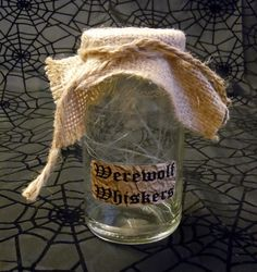 """""""Werewolf Whiskers"""" Halloween Labeled Potion/Lab/Witch Jar"""