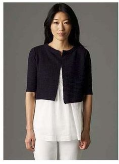 Eileen Fisher Featherweight Cotton Cove Cropped Cardigan in Evening