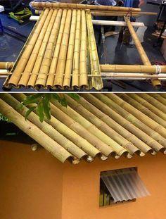 Telhado acabado. Os nós internos devem ser retirados das hastes inferiores para permitir o escoamento da água. Se desejar, o bambu também pode funcionar como calha para coletar a água pluvial. (Fonte: Pinterest).