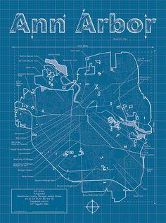 Ann Arbor Artistic Blueprint Map by MapHazardly on Etsy, $30.00