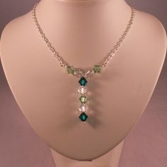 Sterling Silver Necklace With Peridot Emerald Green And Clear Swarovski Crystals
