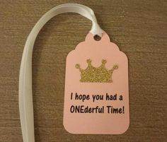 Princess 1st Birthday Party Favor tags Pink and Gold party decor Use on our own favor bags or boxes