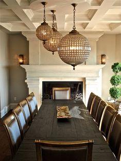 Restoration hardware lighting Traditional Dining Room Decorating ideas