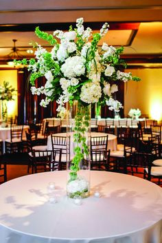 A Classic, Elegant Wedding in Lubbock, TX Green Centerpieces, White Centerpiece, Tall Wedding Centerpieces, Ceremony Decorations, Glamorous Wedding, Elegant Wedding, Purple Wedding, Wedding Flowers, Wedding Bells
