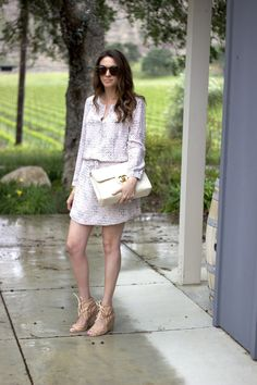 DEVASTATINGLY CHIC - CHANEL VINTAGE JUMBO, BLUSH CARDIGAN, PRINTED SPRING DRESS WITH BLUSH
