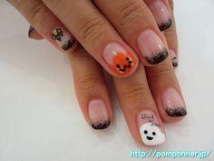 かぼちゃとお化けが可愛いハロウィンネイル Ghost and pumpkin cute Halloween nail