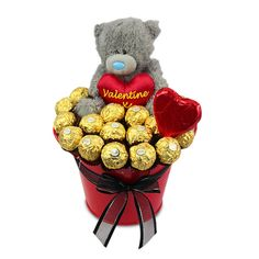 """Ferrero Rocher Valentine is designed in tin filled with 15 delicious Ferrero Chocolate's and a Love teddy from the """"Me to You"""" teddy range"""