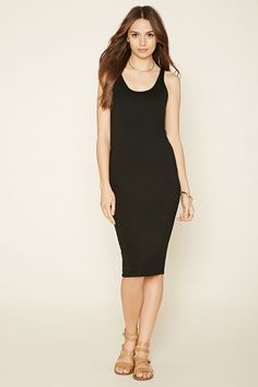 Forever 21 Contemporary - A sleeveless dress crafted from a stretch knit with a round neckline and a bodycon fit.