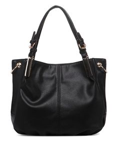 Look at this Black Buckle-Strap Tote on #zulily today!