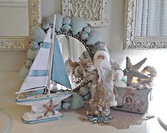 31 Most Beautiful Coastal Christmas Decorating Ideas 2019 The point is to bring Christmas joy right to your porch for all to enjoy. Beach Christmas Trees, Coastal Christmas Decor, Nautical Christmas, Noel Christmas, Christmas Crafts, Coastal Decor, Christmas Ideas, Coastal Living, Cottage Christmas