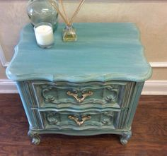 Night stand painted with a wash of Florence and Old White Annie Sloan Chalk Paint. Sealed with clear soft wax with touches of German Silver Guilders Paste on edges and hardware. Custom painted by TLC Design Studio on Etsy.