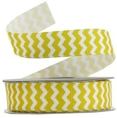5 yards 5/8 YELLOW and white CHEVRON ribbon by WendDsScrappinStuff, $3.25
