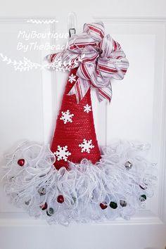 Elf hat - Christmas in July - Santa hat door hanger - Christmas wreath with snowflakes - Christmas d Holiday Hats, Christmas Hat, Christmas In July, Christmas Wreaths, Christmas Ornaments, Santa Wreath, Diy Wreath, Wreath Ideas, Mesh Wreaths