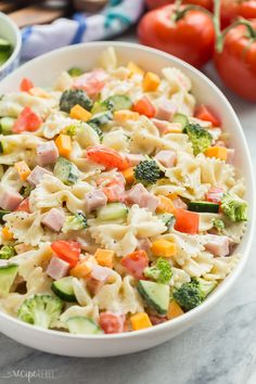 This Creamy Ranch Bowtie Pasta Salad is an easy summer side dish for your barbecue or cookout, or an easy dinner idea! The leftovers make a great cold lunch for school or work, and it keeps well in the fridge. Loaded with your favorite summer veggies and a creamy ranch dressing!