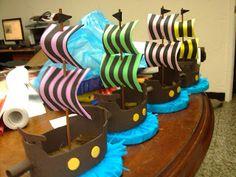 De todo en foami: Barcos piratas - Fiesta pirata - Centro de mesa
