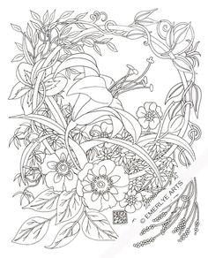 Daylily Circle - an adult coloring page by Cynthia Emerlye