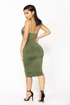 Anne Marie Midi Dress - Olive
