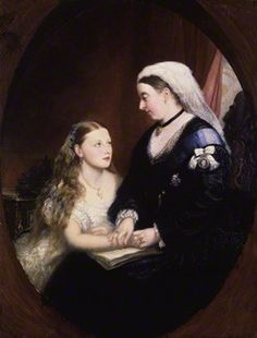 9th child of Prince Albert (1819-1861) & Queen Victoria (1819-1901) & Wife of Prince Henry Maurice of Battenberg (1858–1896). Princess Beatrice Mary Victoria Feodore (1857-1944) with her mother Queen Victoria (1819-1901) by Unknown artist about 1869.