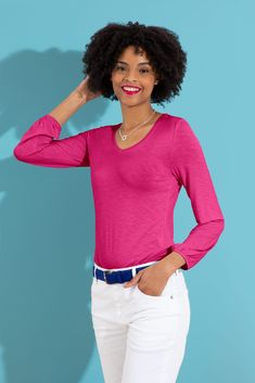 Zoe V Neck in Fuschia Winter Outfits, Winter Clothes, Long Sleeve Tops, V Neck, Colours, My Style, Ss, Sleeves, Fabric