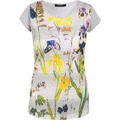 Pasiasty t-shirt w kwiaty