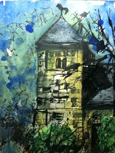 Linley Church. Pen, ink and watercolour. Inspired by John Piper.