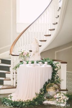 A Lush, Soft-Hued Styled Shoot Inspired by an Airy, Enchanted Garden - WedLuxe Magazine Tall Wedding Cakes, Wedding Desserts, Wedding Cake Table Decorations, Wedding Table, Centerpiece Ideas, Wedding Reception, Treehouse Wedding, Enchanted Garden Wedding, Diy Outdoor Weddings