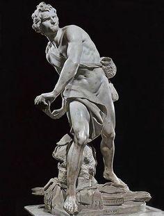 bernini   Gian Lorenzo Bernini, David , marble, 1623-24 (Galleria Borghese, Rome ...