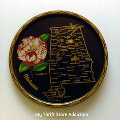Vintage Alabama State Souvenir tray available at Etsy Thrift Store Addiction!
