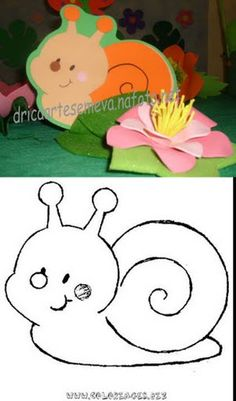Snail Fun Crafts For Kids, Preschool Crafts, Art For Kids, Diy And Crafts, Arts And Crafts, Insect Crafts, Drawing Lessons For Kids, Spring Animals, Animal Doodles