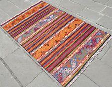 "Turkish Kilim Rug Fragment 43"" x 69"" Hand Woven Wool Vintage Rug 3' 6"" x 5' 7"""