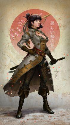 ArtStation - Her name is Sakura, Andrey Maximov Dnd Characters, Fantasy Characters, Female Characters, Game Of Thrones Characters, Fictional Characters, Female Character Design, Character Concept, Character Art, Fantasy Armor