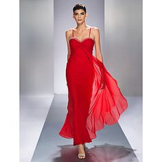 Sheath/Column Spaghetti Straps Ankle-length Lace Evening Dress – CAD $ 133.99 Evening Dresses Online, Cheap Evening Dresses, Dresses Uk, Affordable Bridesmaid Dresses, Spaghetti Strap Dresses, Spaghetti Straps, Strapless Dress Formal, Formal Dresses, Formal Prom