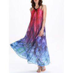 V Neck Tie-Dye Backless Maxi Dress